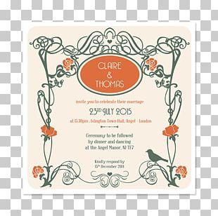 Wedding Invitation Art Nouveau Art Deco PNG