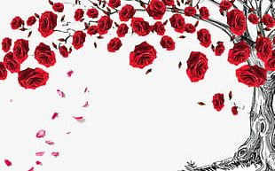 Red Rose Tree Decorated With Decorative Borders PNG