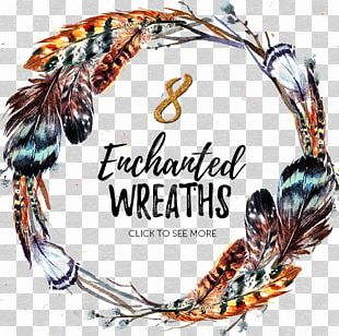 Boho-chic Watercolor Painting Wreath Illustration PNG