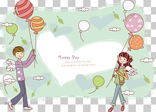 Cartoon Falling In Love Couple Illustration PNG