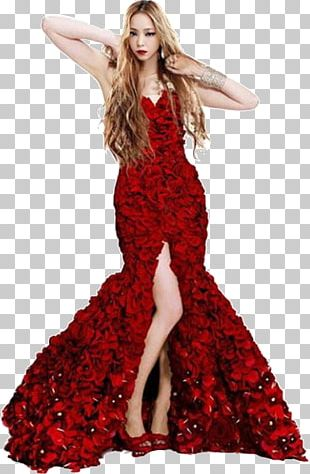 Wedding Dress Gown Rose Red PNG