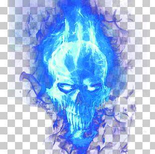 Hoodie Skull Flame Blue PNG