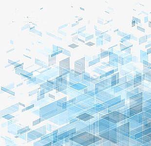 Blue Transparent Three-dimensional Block Diagram Technology Background PNG
