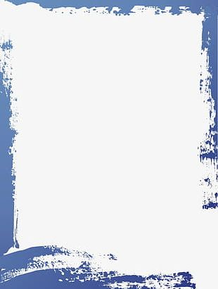 Simple Blue Watercolor Border Frame PNG
