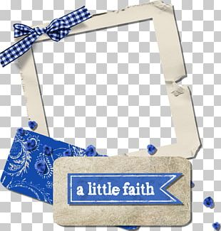 Blue Frame White Digital Scrapbooking PNG