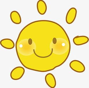 Hand Painted Yellow Smiley Sun PNG