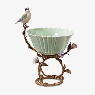European Bird Flower Pots PNG