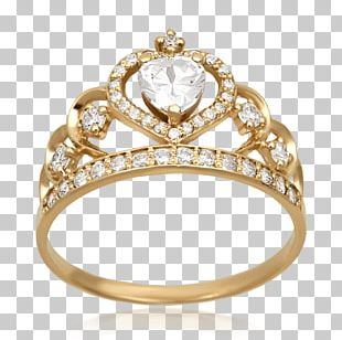 Claddagh Ring Crown Gold Diamond PNG
