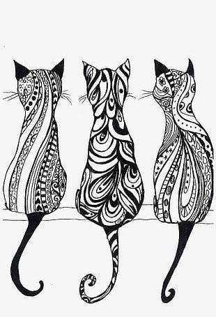 Black And White Line Art Cat PNG
