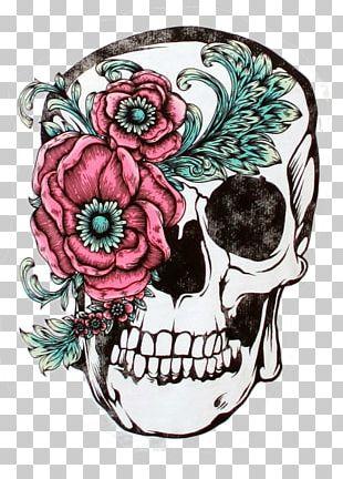 Skull Calavera Sleeve Tattoo Flower PNG