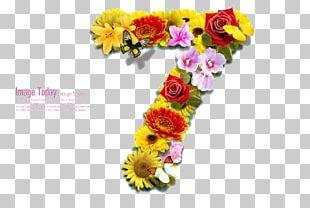 Numerical Digit Flower Art PNG