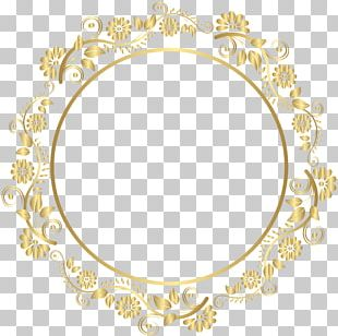 Round Gold Border Frame Deco PNG