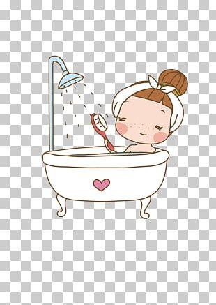Bathing Cartoon Shower Gel PNG