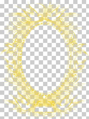 Frame Yellow Feather Pattern PNG