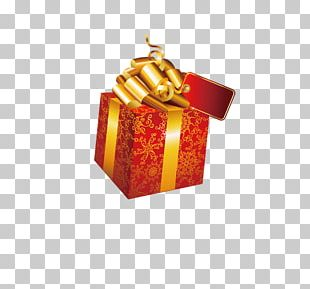 Golden Frame Christmas Decoration Gift Box PNG