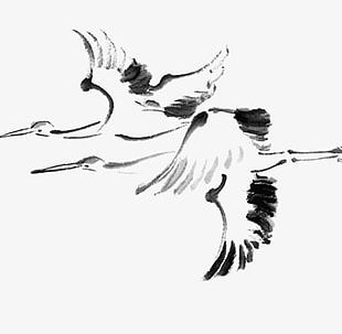 Hand Painted Red-crowned Crane Ink Painting PNG