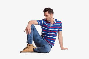 Foreign Male Model Sitting On The Floor PNG