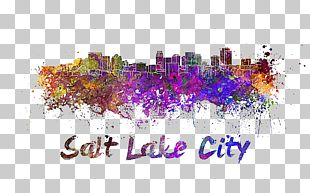 Skyline Watercolor Painting Stock Illustration PNG