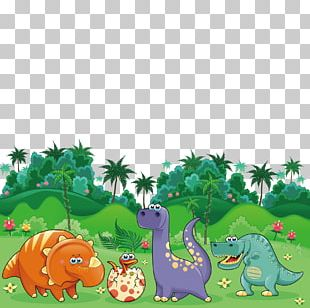 Triceratops Dinosaur Cartoon Illustration PNG