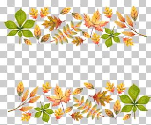 Painted Yellow Autumn Leaves Decoration PNG