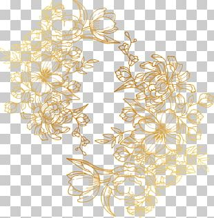 Painted Golden Flowers PNG