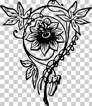 Floral Design Line Art Drawing PNG