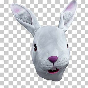 White Rabbit Costume Party Latex Mask PNG