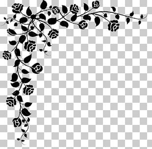 Floral Design Black And White Drawing PNG