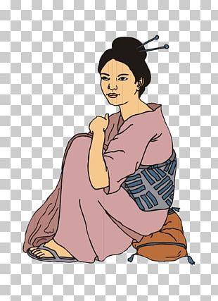 Japan Kimono Cartoon Woman Illustration PNG