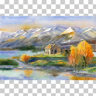Watercolor Painting Lake Tekapo Church Of The Good Shepherd Landscape Painting PNG