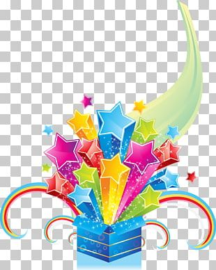 Colorful Abstract Holiday Radially Stars PNG