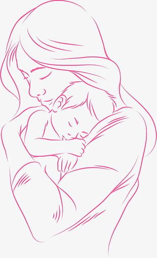 Hand-painted Mother And Child PNG