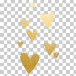 Gold Heart Red PNG