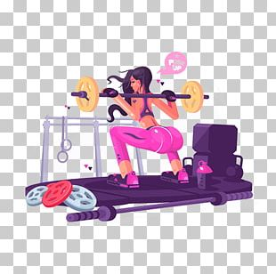 Fitness Centre Weight Training Squat Illustration PNG