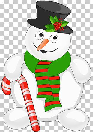 Snowman Candy Cane Christmas PNG