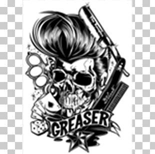 Rockabilly Calavera Tattoo Drawing PNG