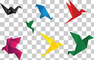 Crane Bird Paper Origami Icon PNG