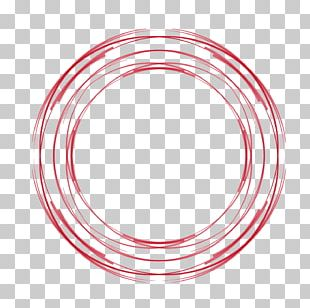 Red Circle Hand-painted Hollow Circle PNG