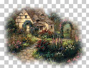 Cottage Garden Landscape Painting PNG