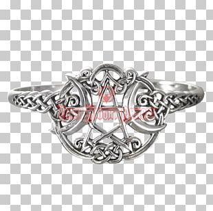 Silver Pentagram Pentacle Wicca Bracelet PNG