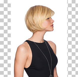 Blond Bob Cut Wig Hairstyle Synthetic Fiber PNG