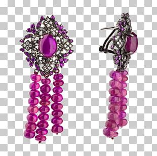Amethyst Earring Body Jewellery Purple Bead PNG