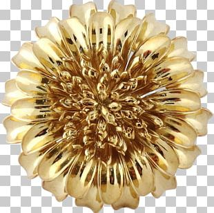 Colored Gold Flower Brooch Jewellery PNG