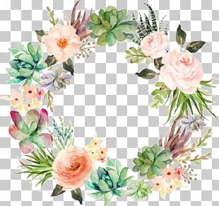 Floral Design Flower Garland Wreath Wedding Invitation PNG