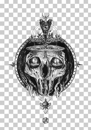 Skull T-shirt Black And White PNG