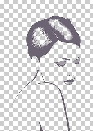 Black And White Drawing Woman Illustration PNG
