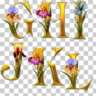 Floral Design Letter Alphabet Flower Render PNG