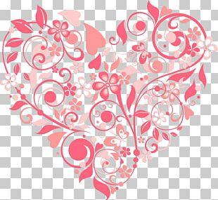 Heart Flower Wedding Invitation Valentine's Day Pattern PNG