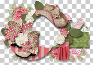 Wreath Christmas Ornament Shoe Pink M PNG