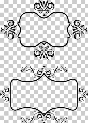 Black Frame With Cartoon Pattern PNG